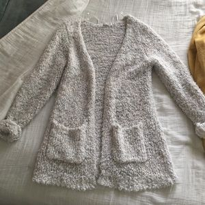 Fuzzy white + grey Cardigan